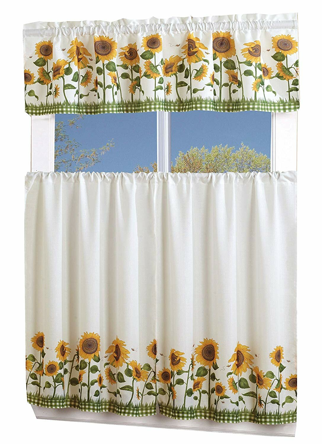 Lamont 3 Piece Sunflower Curtain Set Regarding Traditional Tailored Window Curtains With Embroidered Yellow Sunflowers (View 5 of 20)