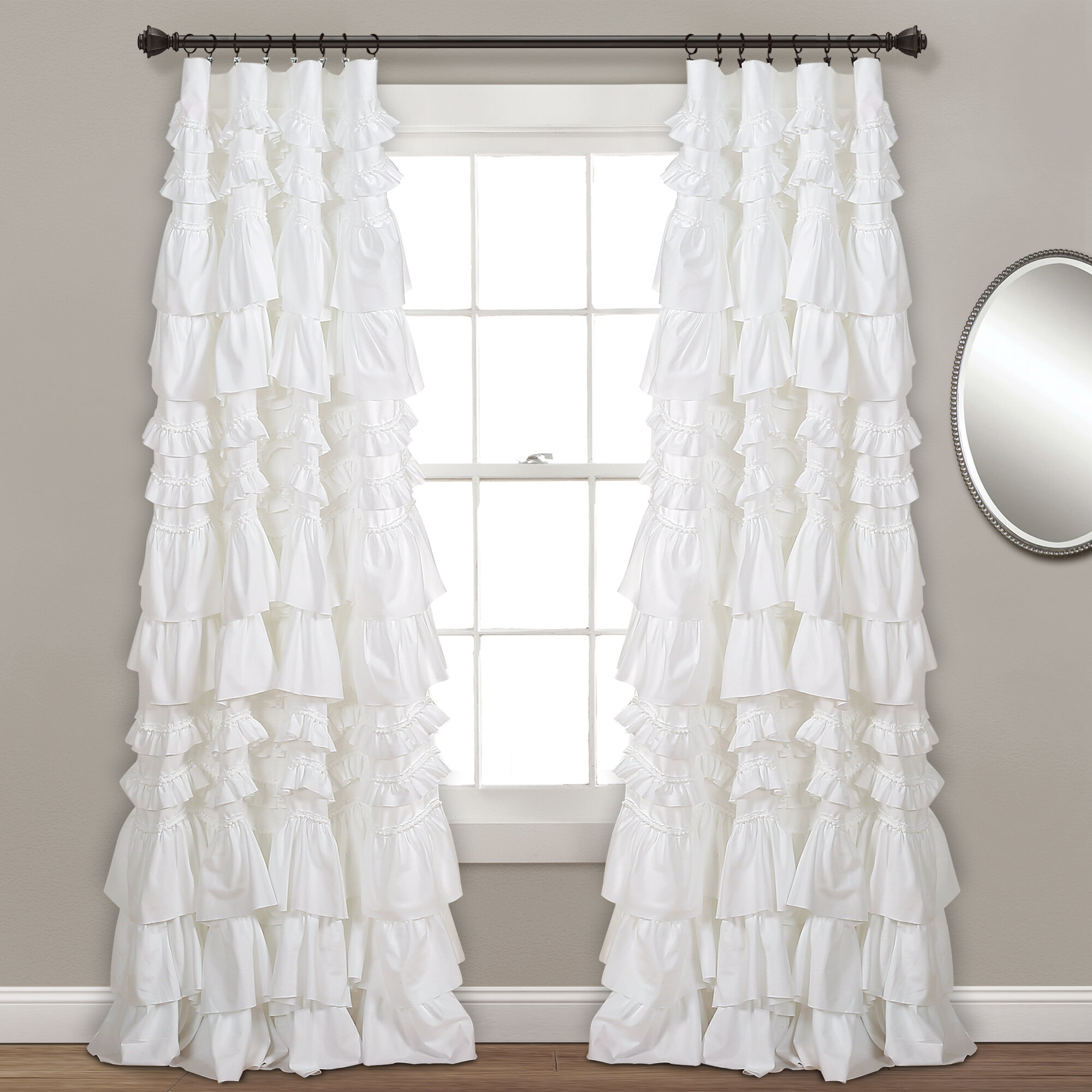 Lark Manor Bridlington Solid Semi Sheer Rod Pocket Single With Elegant Crushed Voile Ruffle Window Curtain Pieces (View 10 of 20)