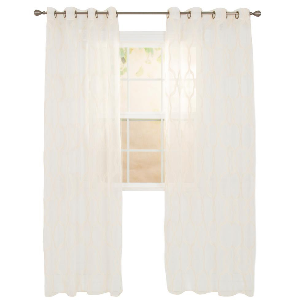 Lavish Home Sheer Elisa Beige Polyester Embroidered Curtain Inside Luxury Collection Kitchen Tiers (View 16 of 20)