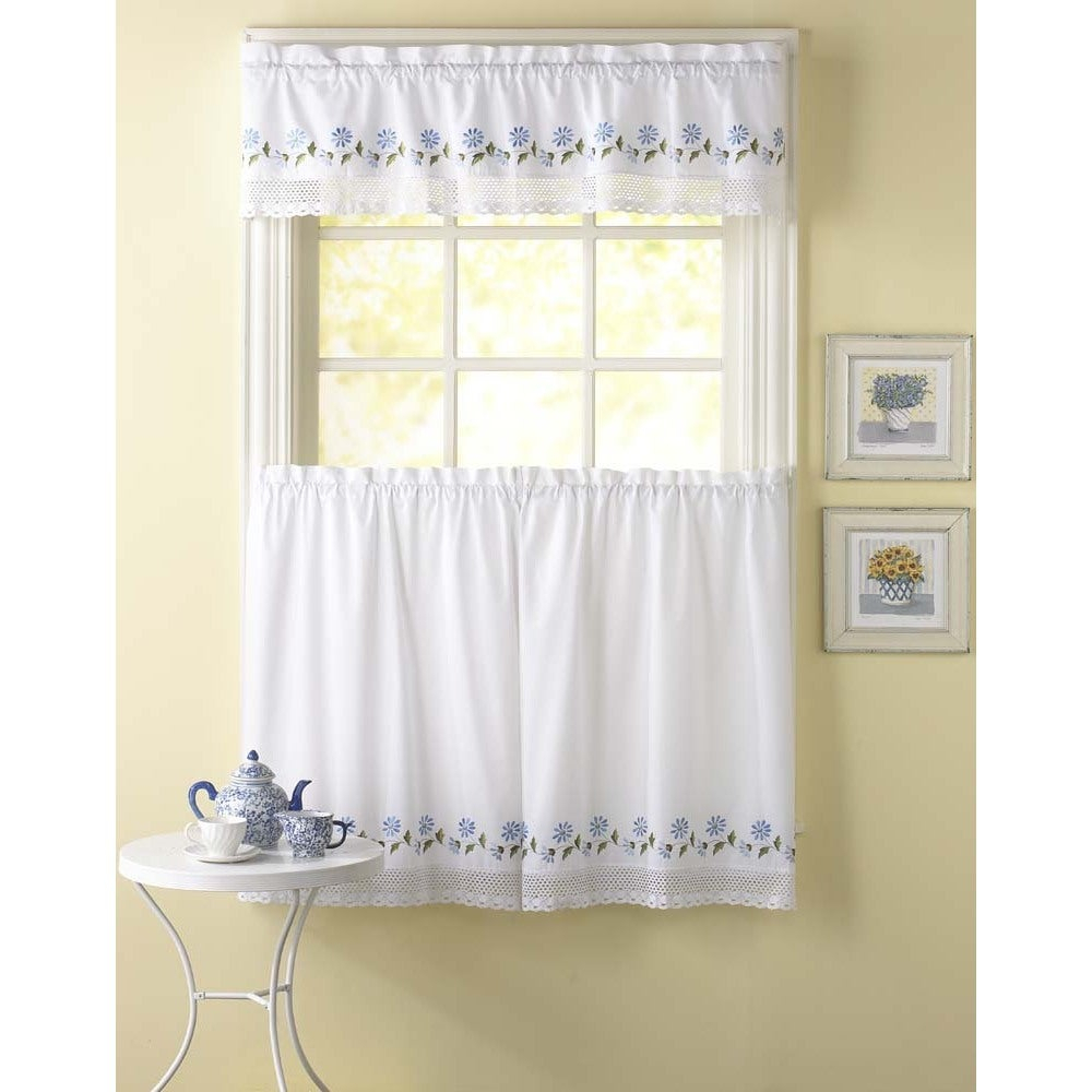 Leighton 3 Piece Curtain Tier And Valance Set Intended For Spring Daisy Tiered Curtain 3 Piece Sets (View 13 of 20)