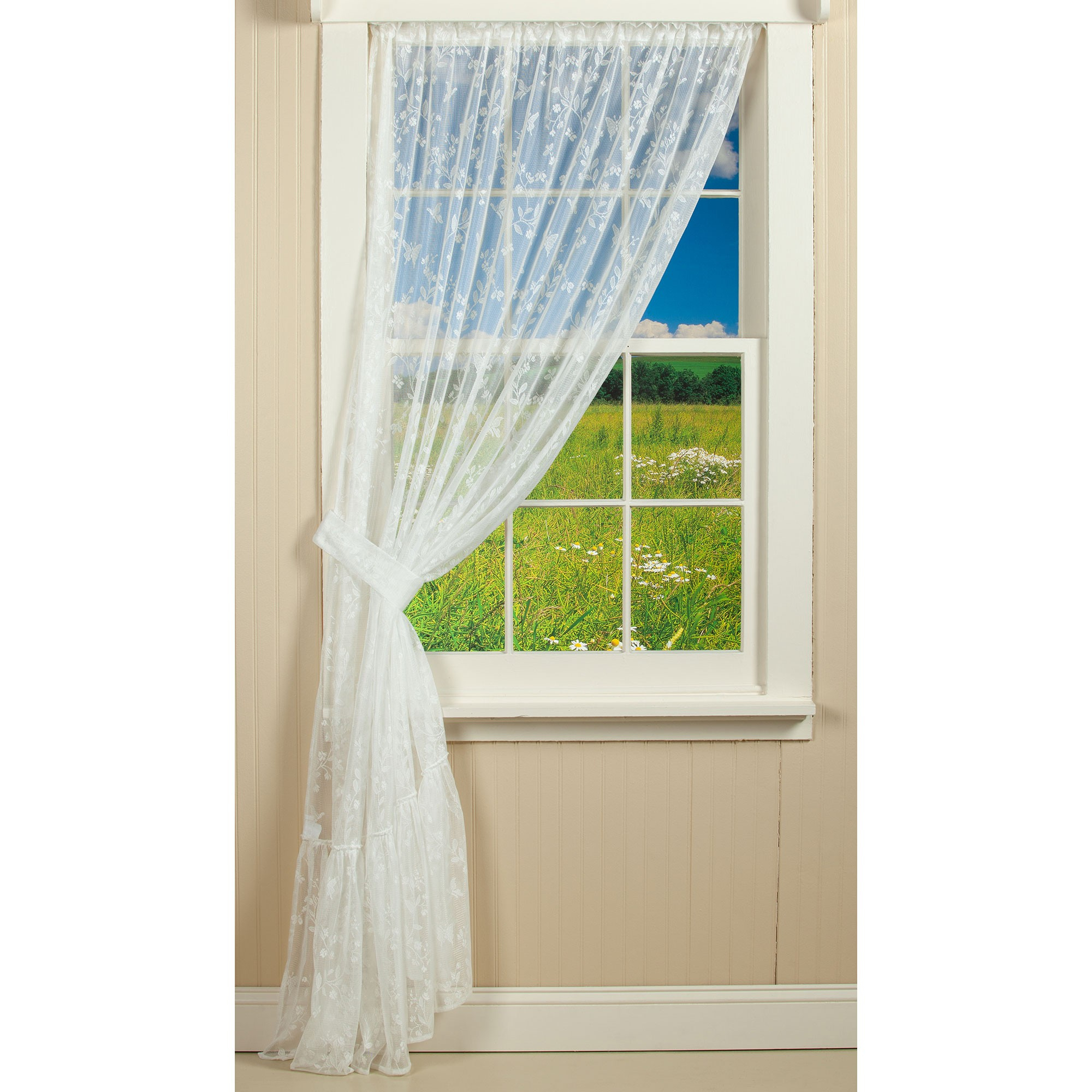 Liberty Lace Curtain Collection   Sturbridge Yankee Workshop In Ivory Knit Lace Bird Motif Window Curtain (View 8 of 20)