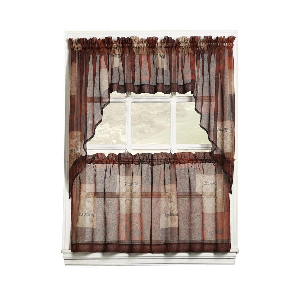 Lichtenberg Sheer Multi Eden Printed Textured Sheer Kitchen Curtain Swags, 56 In. W X 36 In (View 12 of 20)