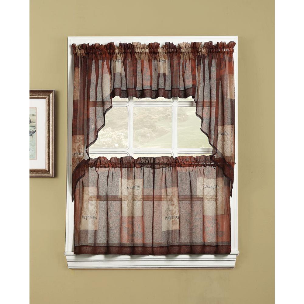 Lichtenberg Sheer Multi Eden Printed Textured Sheer Kitchen Curtain Tiers, 56 In. W X 36 In (View 9 of 20)