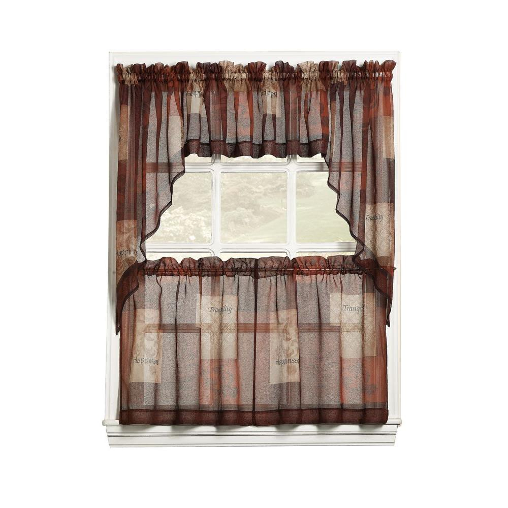 Lichtenberg Sheer Multi Eden Printed Textured Sheer Kitchen Curtain Tiers, 56 In. W X 36 In (View 13 of 20)