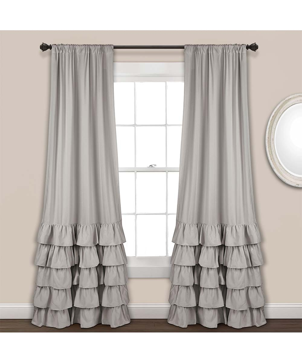 Light Gray Allison Ruffle Window Curtain Panel – Set Of Two Pertaining To Grandin Curtain Valances In Black (View 11 of 20)