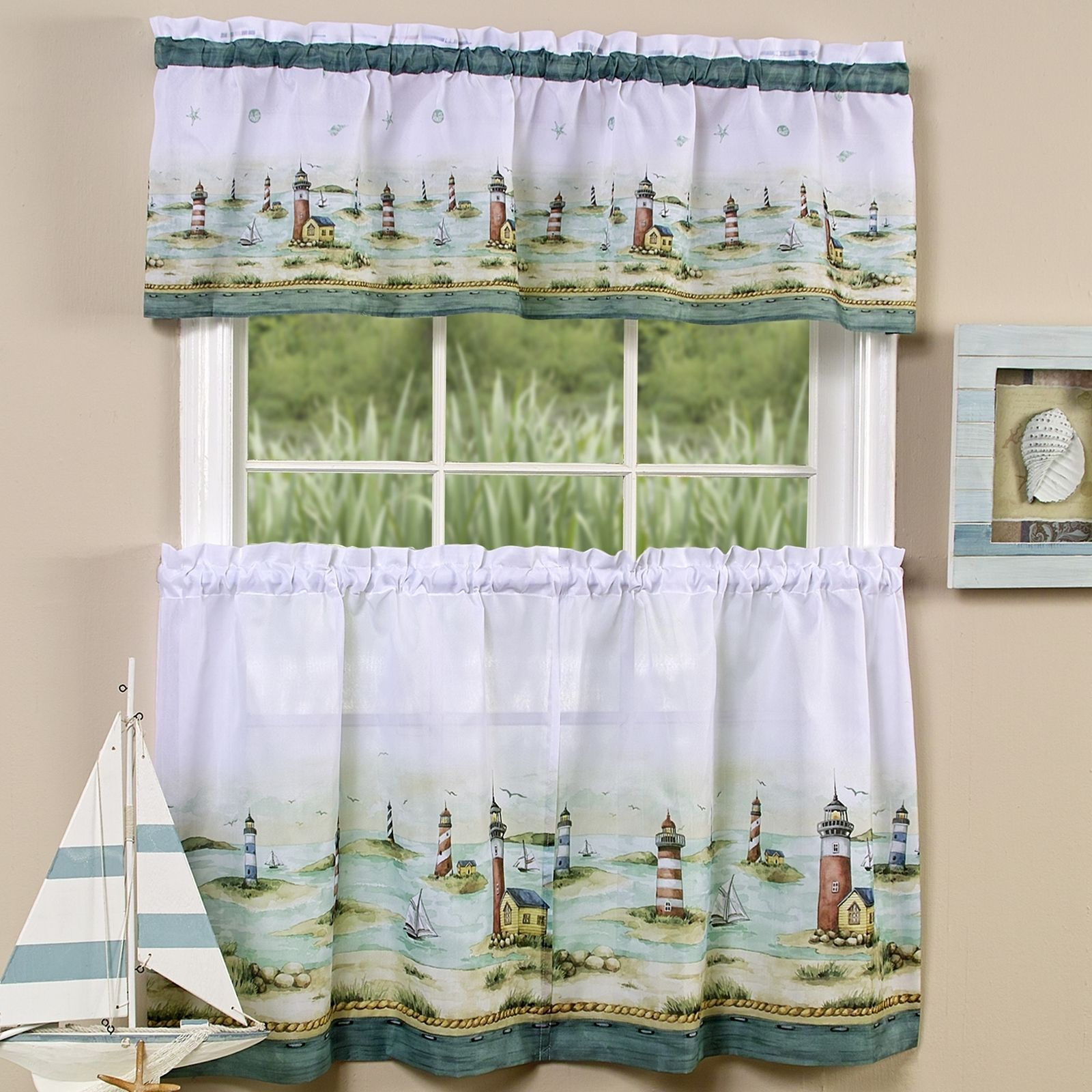 "Lighthouse Window Curtain Set Valance + 24"" Tiers Coastal Intended For Coastal Tier And Valance Window Curtain Sets (View 16 of 20)"