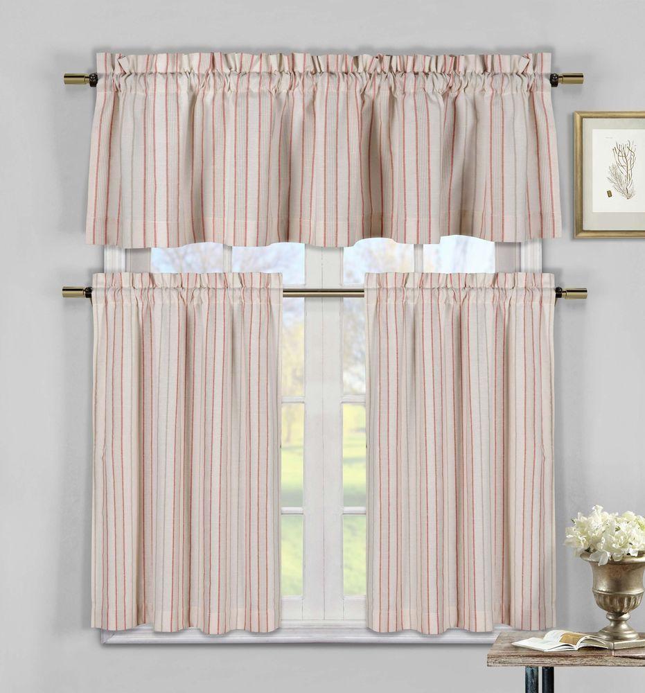 Linen Look Stripe Kitchen Window Curtain Tier & Valance Set With Window Curtain Tier And Valance Sets (View 14 of 20)