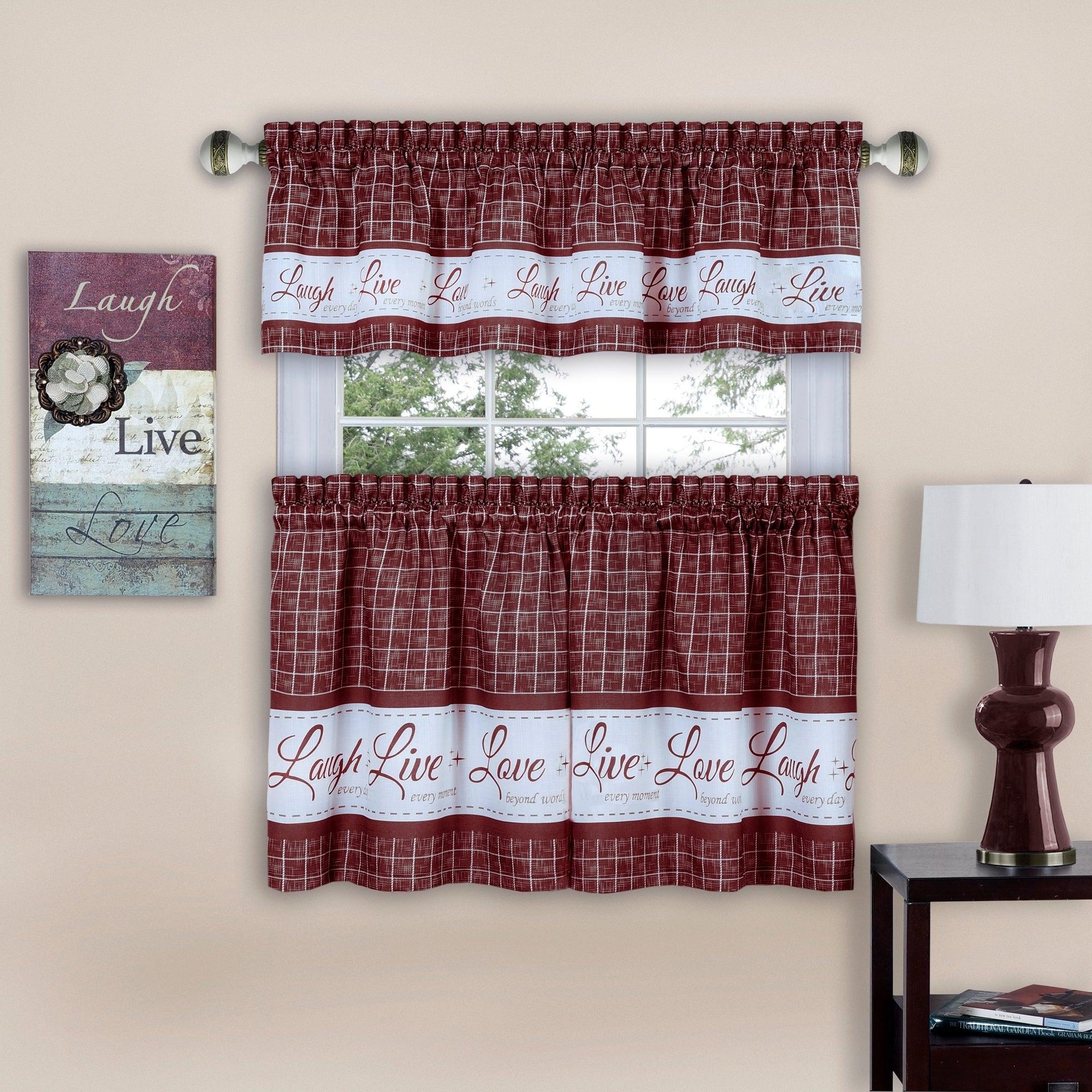 Live, Love, Laugh Window Curtain Tier Pair And Valance Set Pertaining To Dakota Window Curtain Tier Pair And Valance Sets (View 8 of 20)