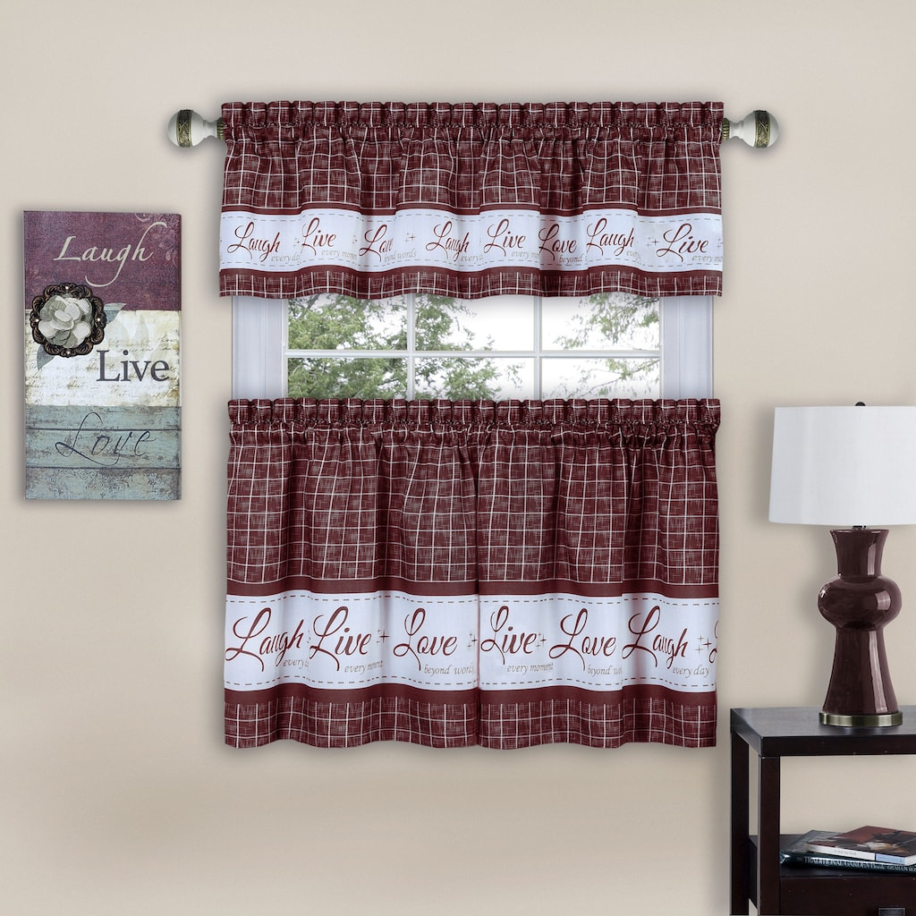 Live, Love, Laugh Window Curtain Tier Pair & Valance, 58x24 Pertaining To Grace Cinnabar 5 Piece Curtain Tier And Swag Sets (View 11 of 20)