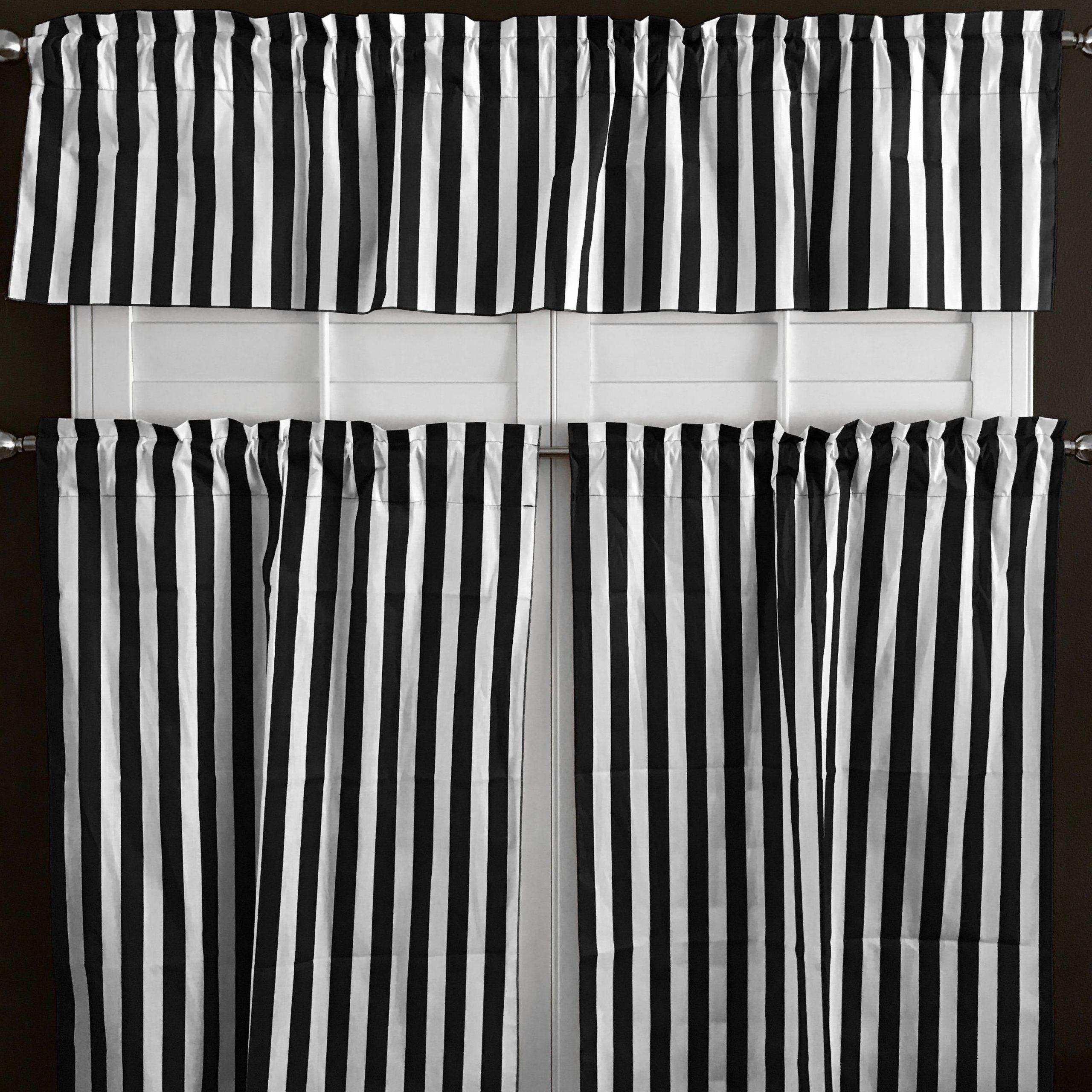 Lovemyfabric Cotton Blend Striped Print Kitchen Curtain Tier/valance Window Treatment Regarding Cotton Blend Grey Kitchen Curtain Tiers (View 13 of 20)