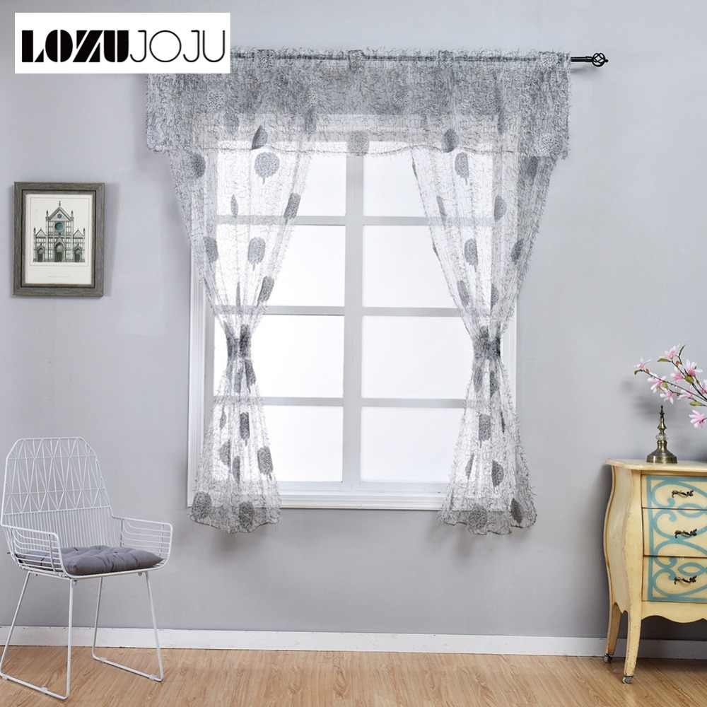 Lozujoju Leaf Jacquard Short Drops For Kitchen Windows With Regard To Tree Branch Valance And Tiers Sets (View 16 of 20)