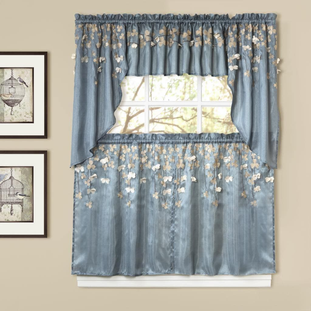 Lush Decor 2 Piece Flower Drops Blue Kitchen Swags Intended For Tree Branch Valance And Tiers Sets (View 17 of 20)