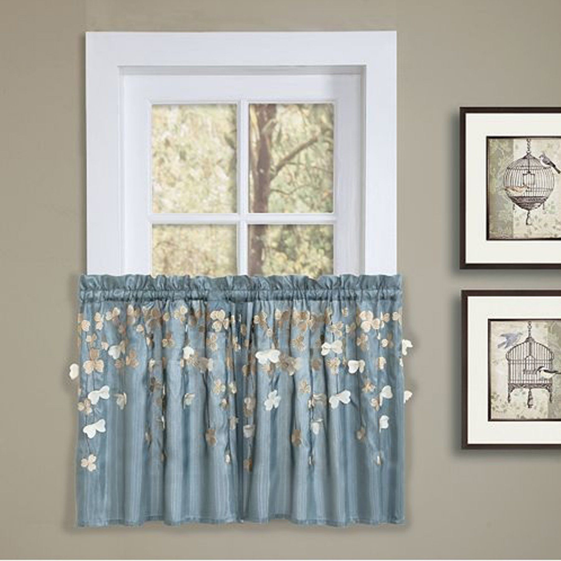 Lush Decor Flower Drops Kitchen Tiers Pair – C10754P13 000 Pertaining To Semi Sheer Rod Pocket Kitchen Curtain Valance And Tiers Sets (View 13 of 20)