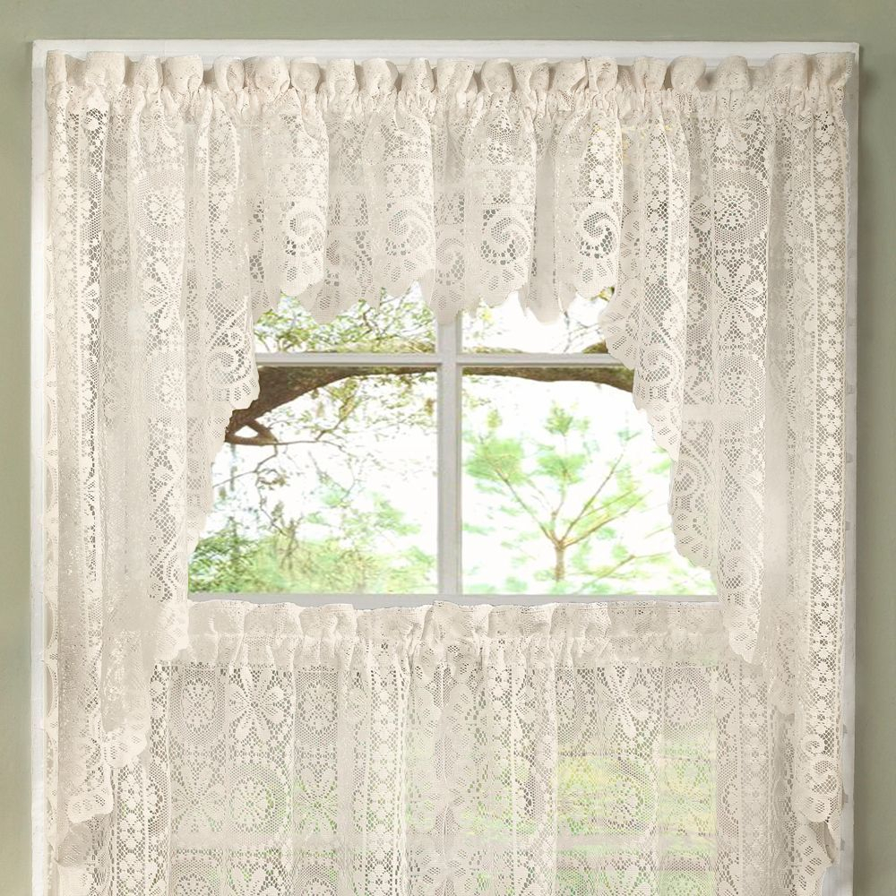 Luxurious Old World Style Lace Kitchen Curtains Tiers And For Cotton Lace 5 Piece Window Tier And Swag Sets (View 11 of 20)
