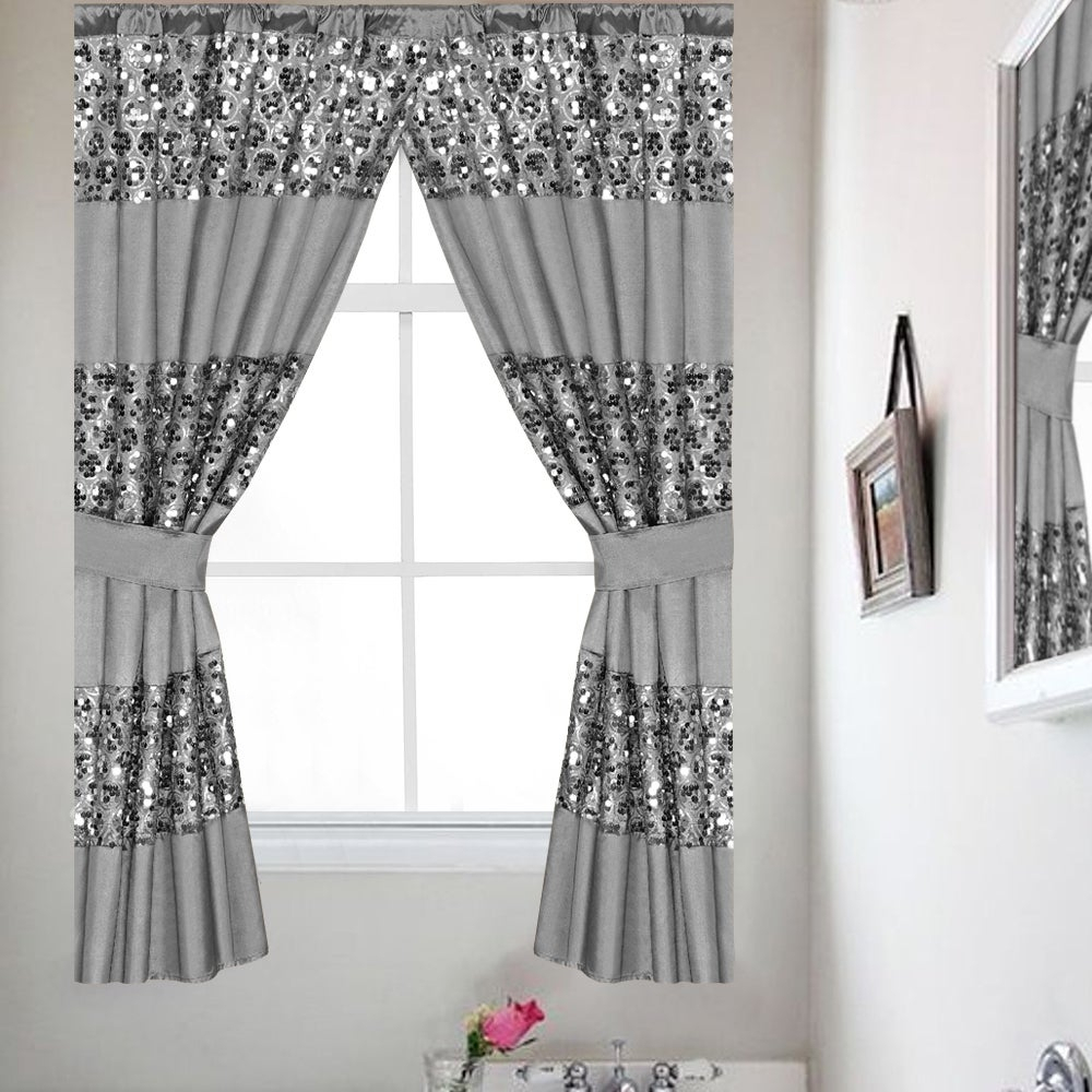 Luxury Bath Collection Window Curtain Set With Tiebacks In Tree Branch Valance And Tiers Sets (View 18 of 20)