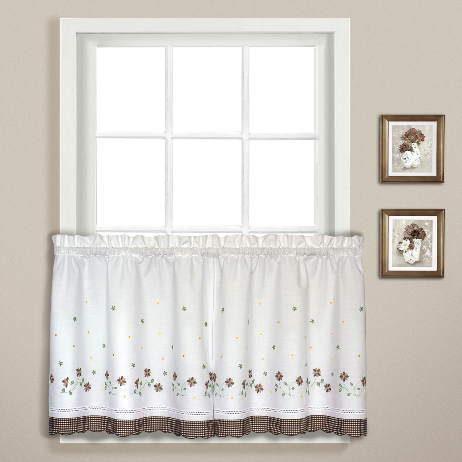 Luxury Collection Gingham Light Filtering Straight Valance Intended For Abby Embroidered 5 Piece Curtain Tier And Swag Sets (Image 16 of 20)