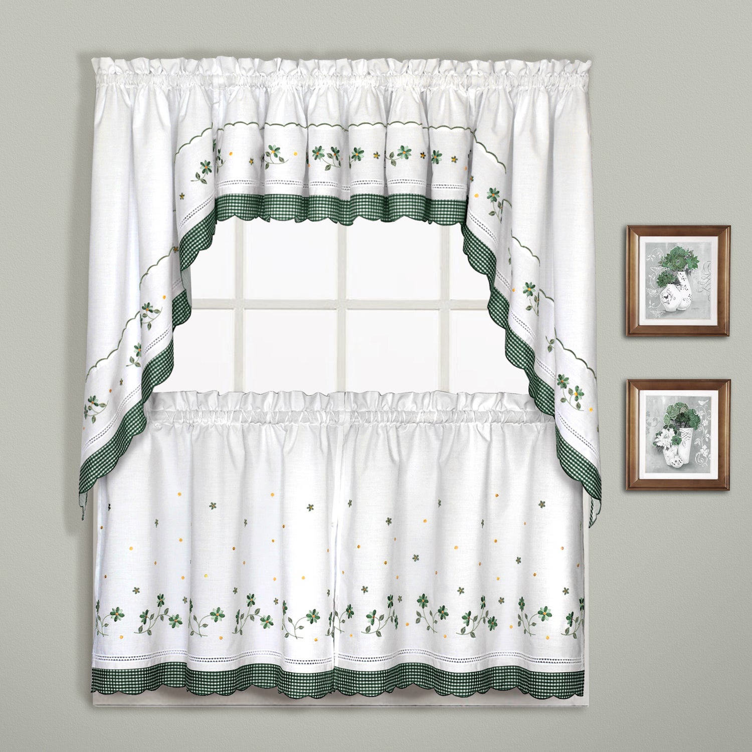 Luxury Collection Gingham Light Filtering Straight Valance With Oakwood Linen Style Decorative Curtain Tier Sets (View 13 of 20)