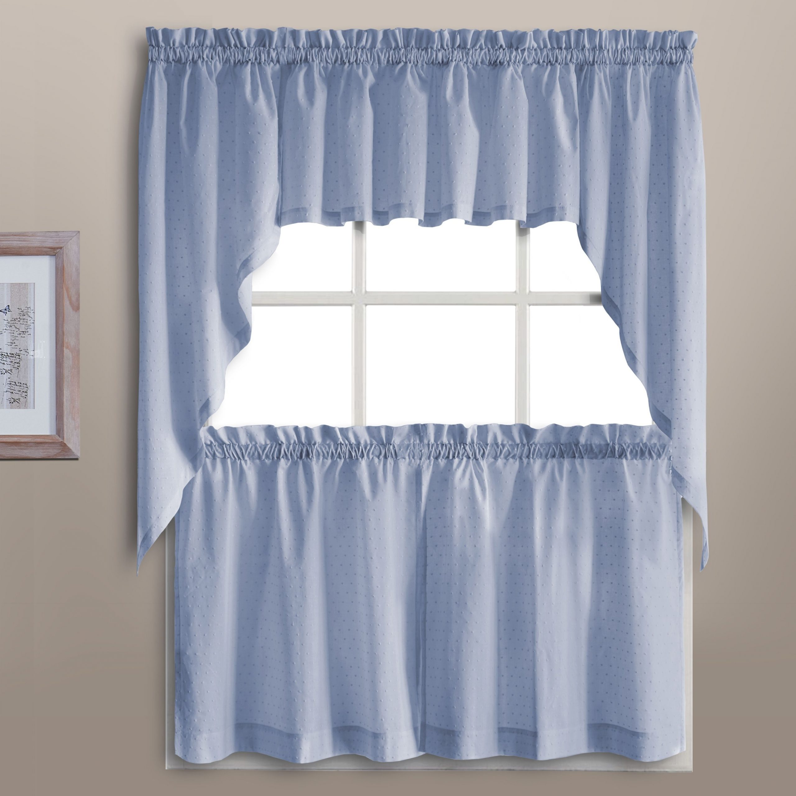 Luxury Collection Othy Swiss Dot Kitchen Tiers (Blue – 24 Pertaining To Abby Embroidered 5 Piece Curtain Tier And Swag Sets (Image 17 of 20)