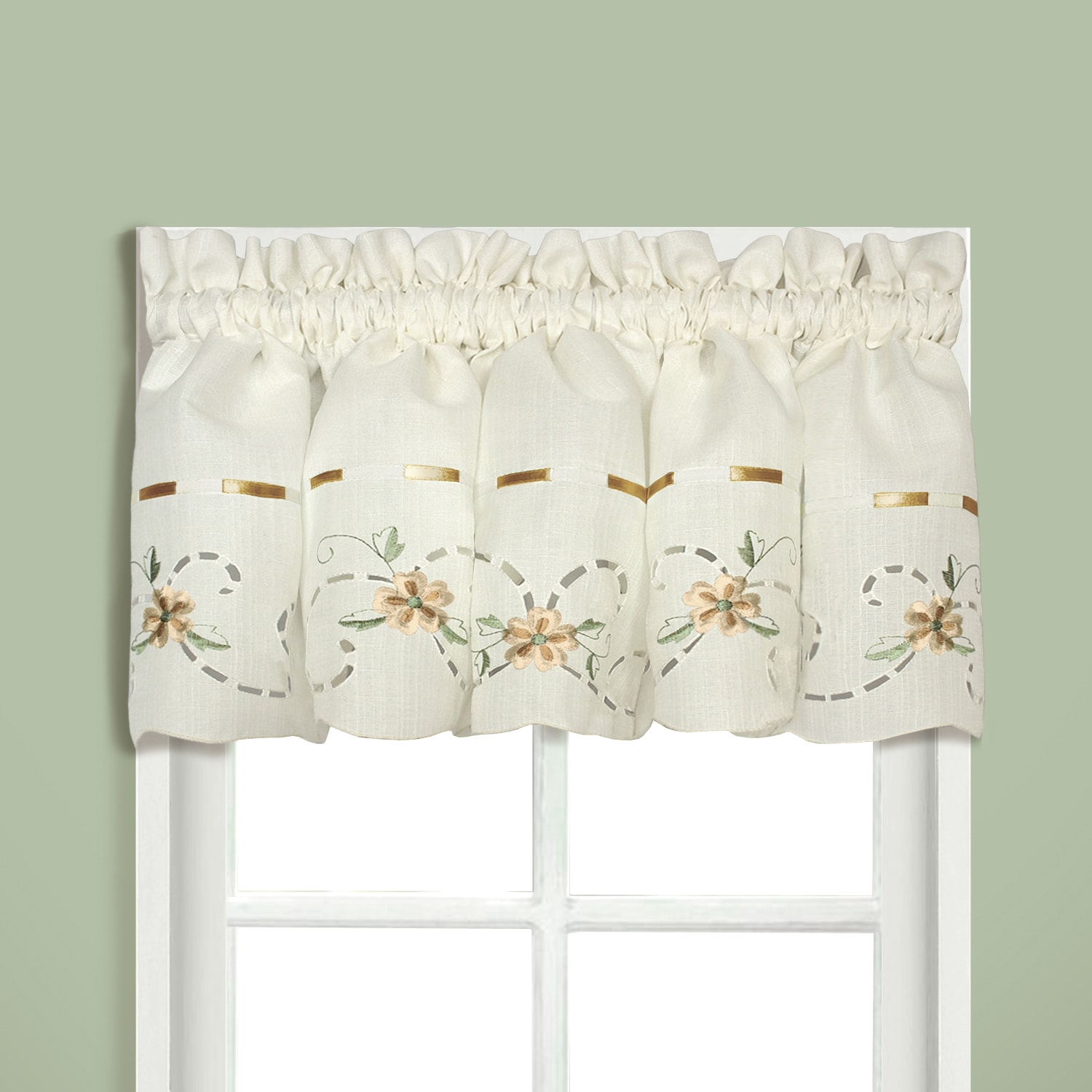 Luxury Collection Rachael Embroidered Florals With Ribbon For Luxury Collection Kitchen Tiers (View 7 of 20)