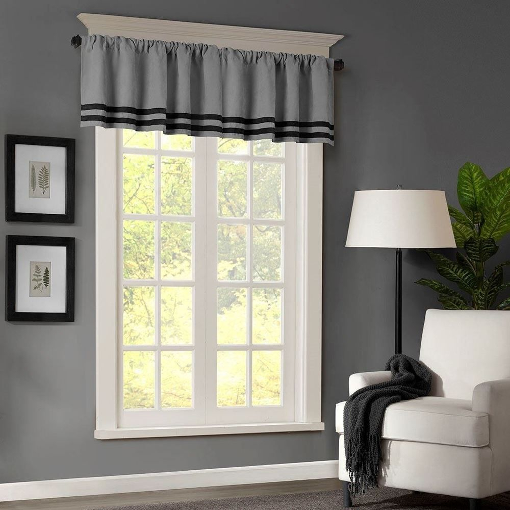 Luxury Grey & Black Striped Microsuede Window Valance – Rod In Luxury Light Filtering Straight Curtain Valances (View 11 of 20)