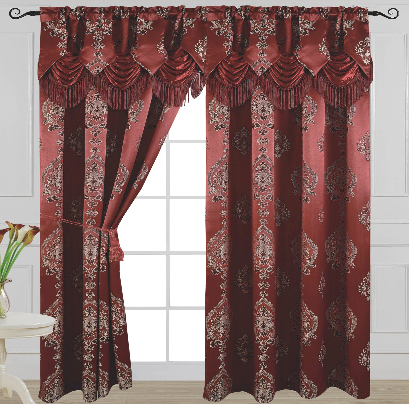 Luxury Jacquard Curtain Panel With Attached Waterfall Valance, 54 84 Inch Alexa Burgundy Inside Luxury Light Filtering Straight Curtain Valances (View 19 of 20)