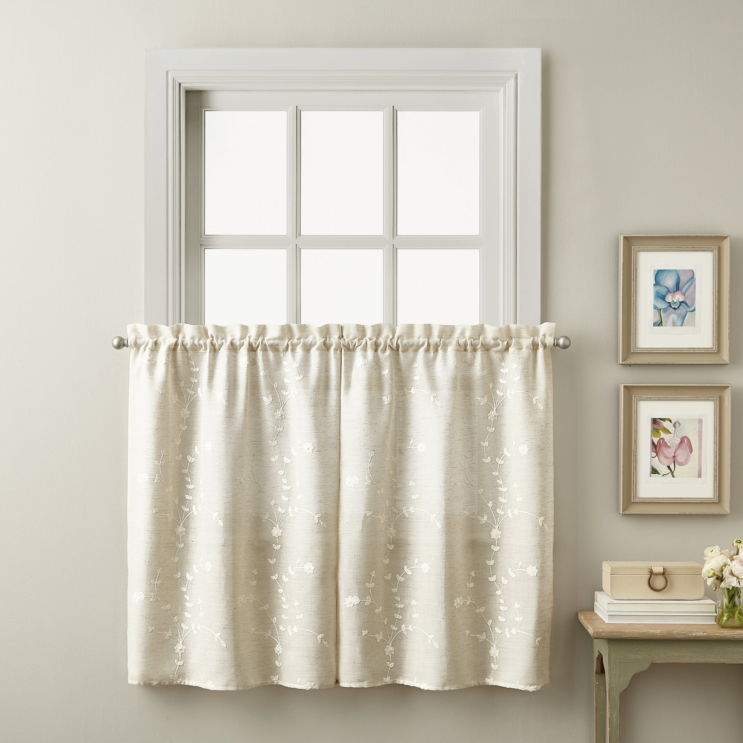 Lynette Tailored Tier Set And Valance Curtain Collection With White Tone On Tone Raised Microcheck Semisheer Window Curtain Pieces (View 10 of 20)