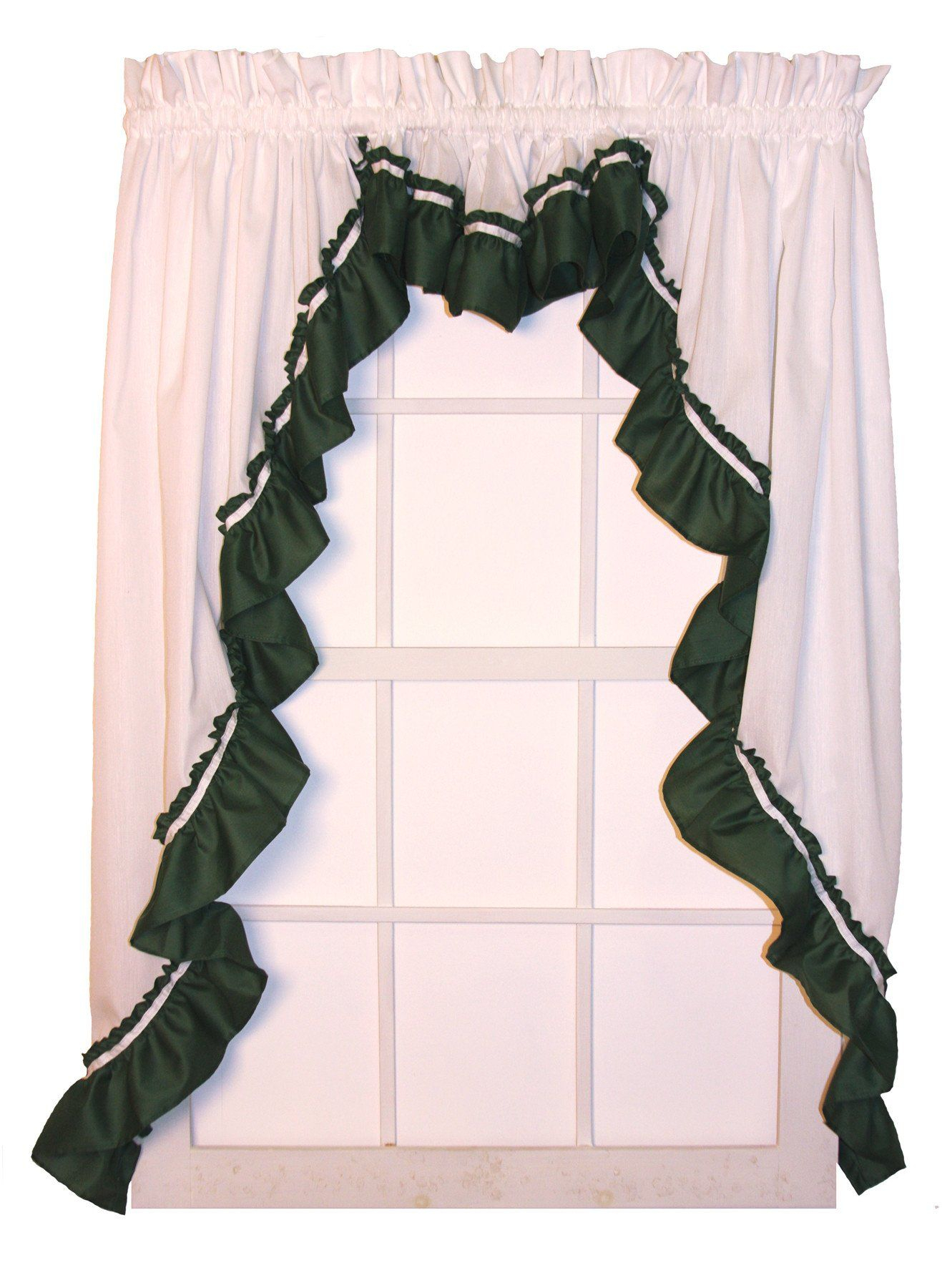Lynn 3 Piece White Ruffled Swags & Filler Valance Window With Regard To Spring Daisy Tiered Curtain 3 Piece Sets (View 14 of 20)