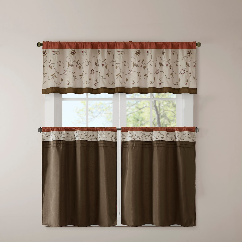 Madison Park 1 Panel Mandara Embroidered Tier Kitchen Window Intended For Grace Cinnabar 5 Piece Curtain Tier And Swag Sets (View 7 of 20)