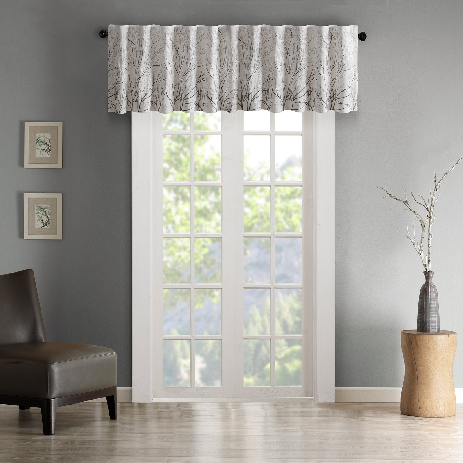 Madison Park Andora Faux Silk Embroidered Valance White In Luxury Light Filtering Straight Curtain Valances (View 14 of 20)