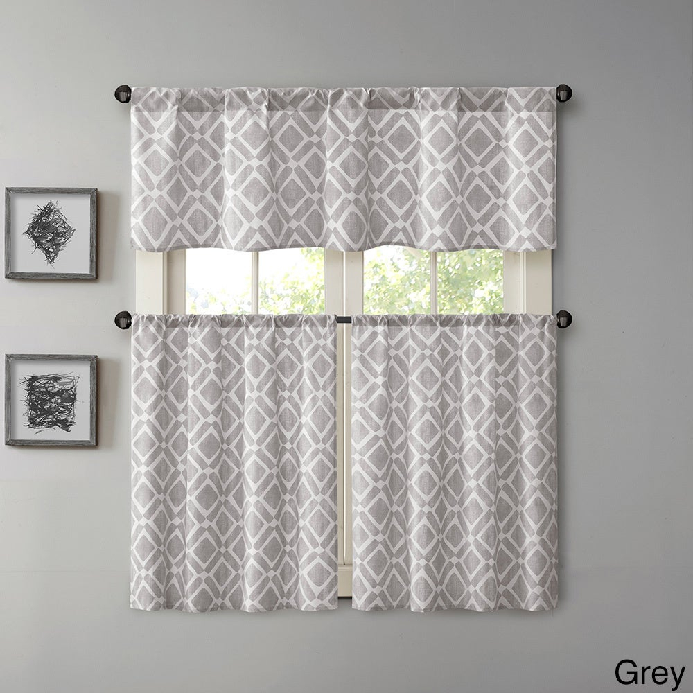 Madison Park Ella Printed Diamond Kitchen Tier With Regard To Geometric Print Microfiber 3 Piece Kitchen Curtain Valance And Tiers Sets (View 4 of 20)