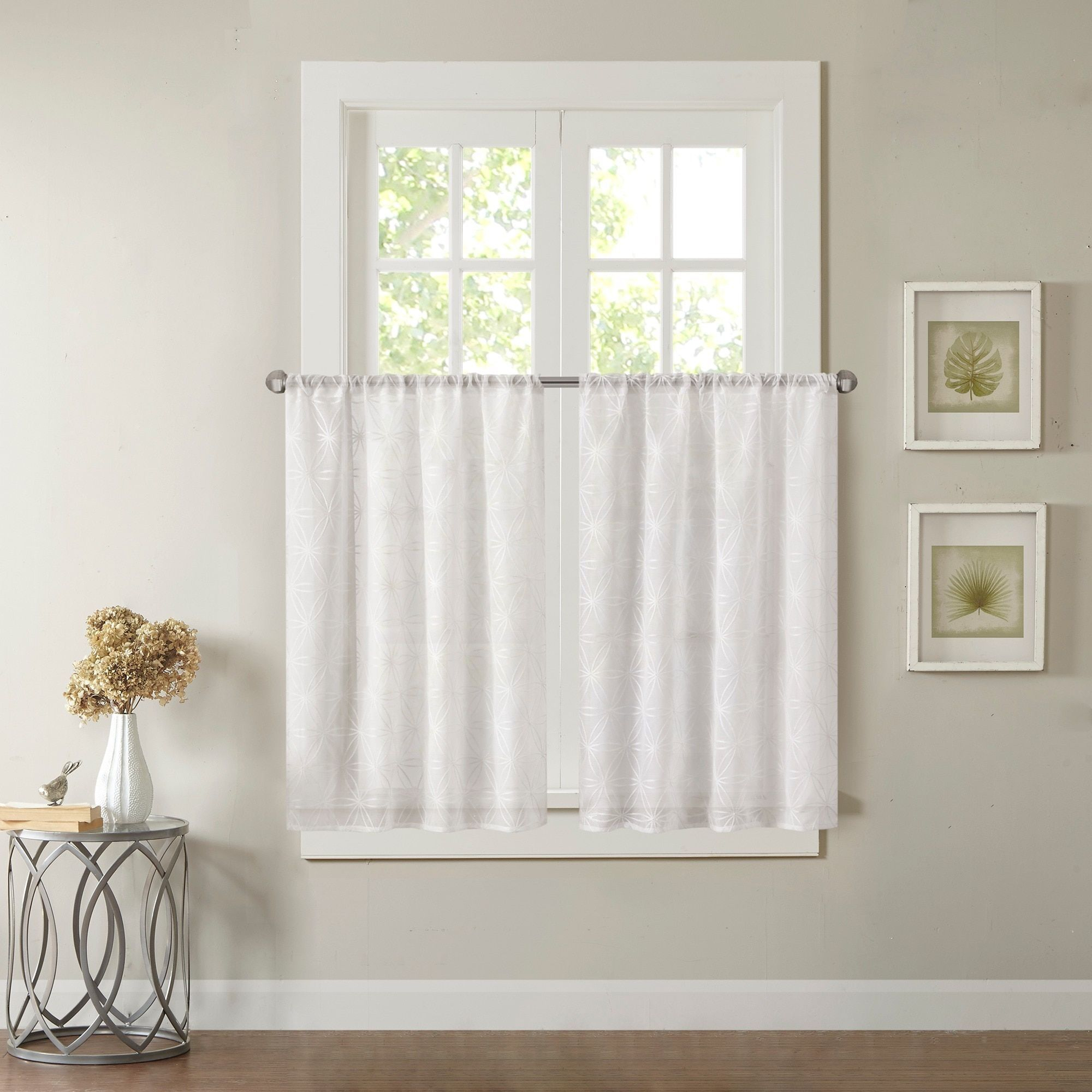 """Madison Park Kida Sheer Embroidered Kitchen Tier (30X36""""(2 With Regard To Cotton Classic Toast Window Pane Pattern And Crotchet Trim Tiers (View 13 of 20)"""