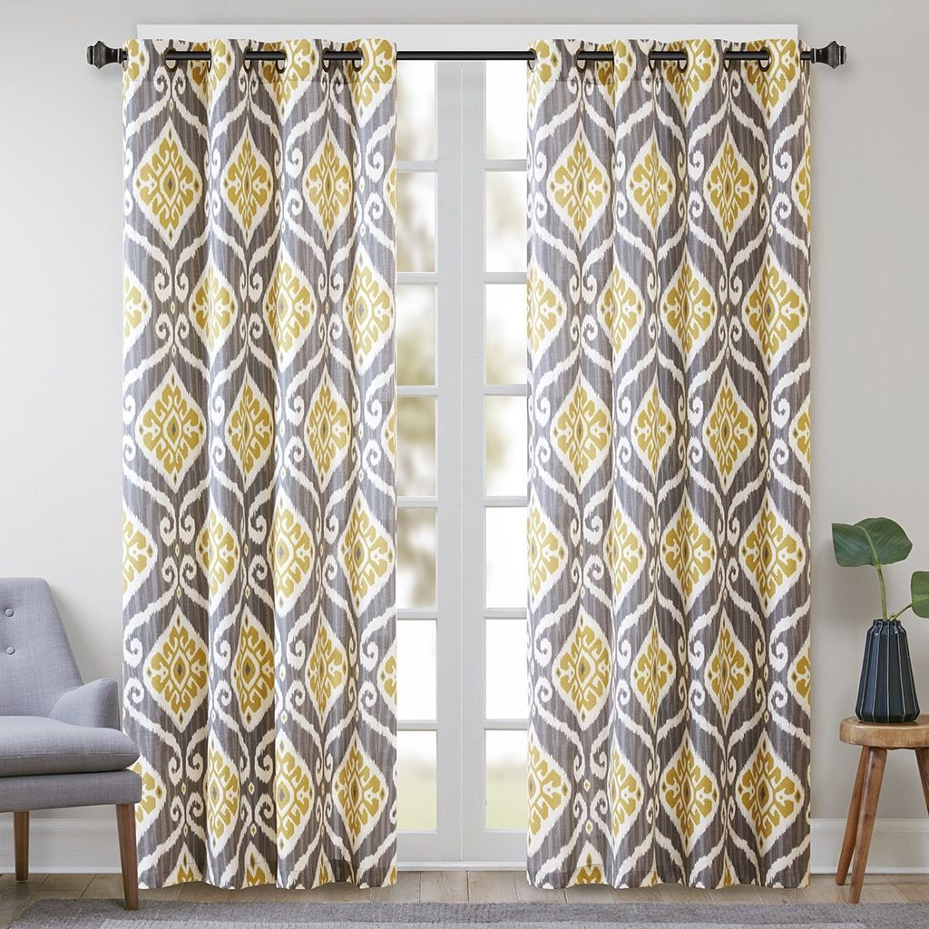 Madison Park Mika Printed Ikat Curtain Panel | Panel Throughout Floral Blossom Ink Painting Thermal Room Darkening Kitchen Tier Pairs (View 8 of 20)