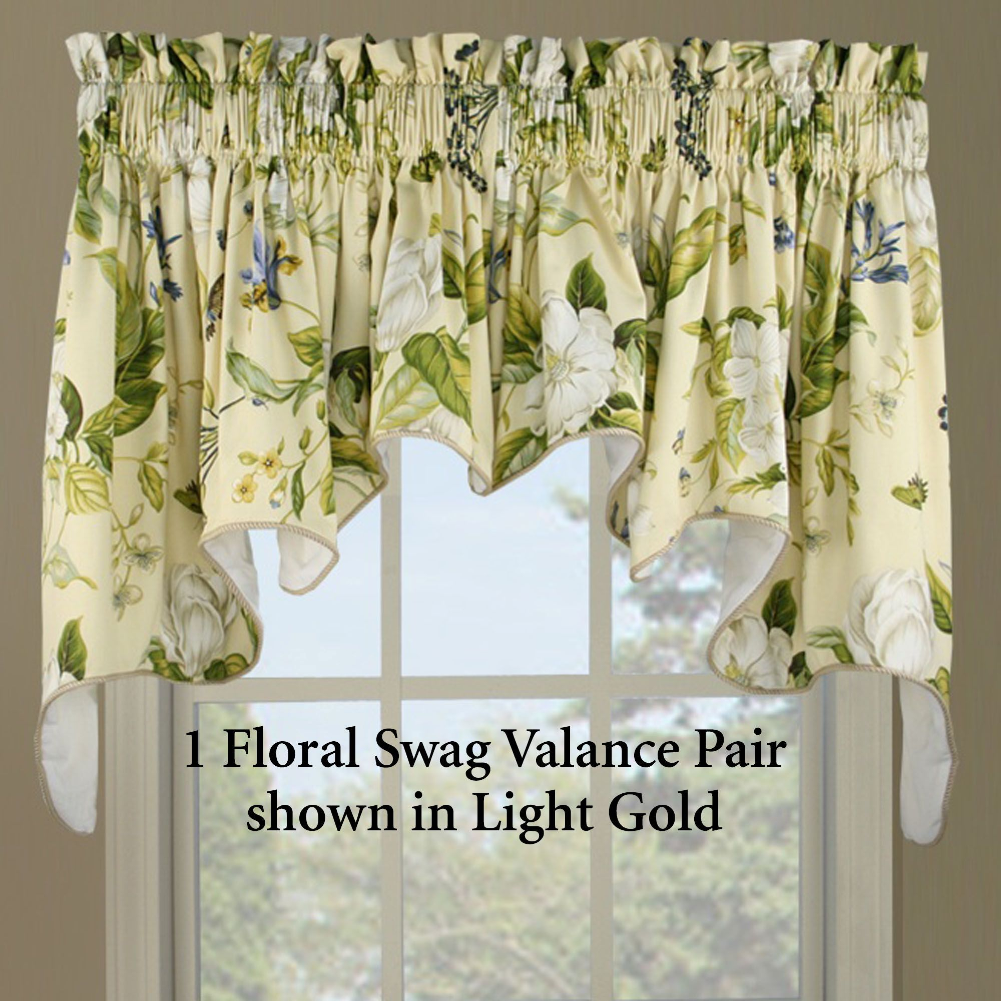Magnolia Kitchen Decor | Home Southern Magnolia Swag Valance In Waverly Kensington Bloom Window Tier Pairs (View 15 of 20)