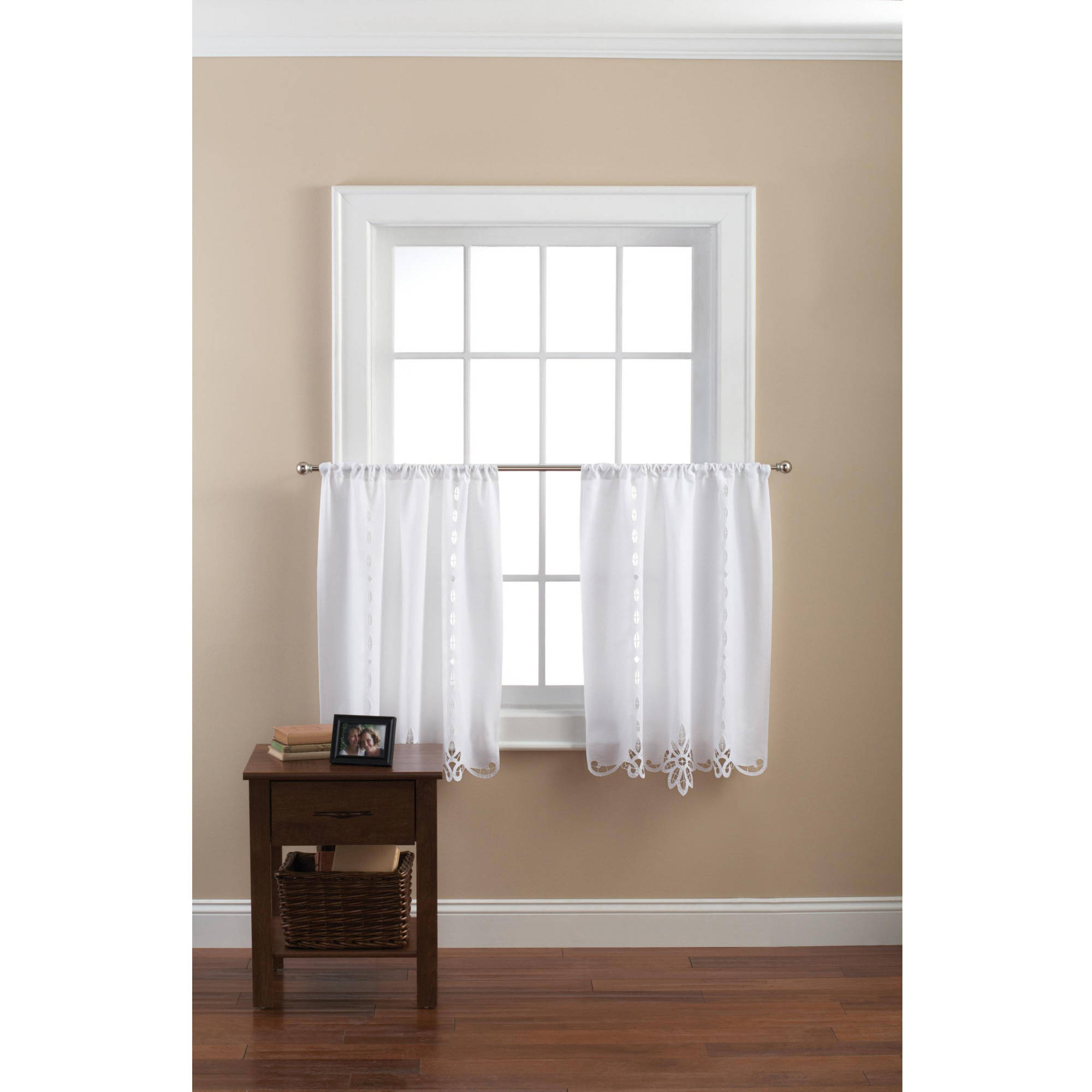 Mainstays Battenburg White Lace Kitchen Curtains, Set Of 2 – Walmart With Regard To Cotton Blend Grey Kitchen Curtain Tiers (View 14 of 20)
