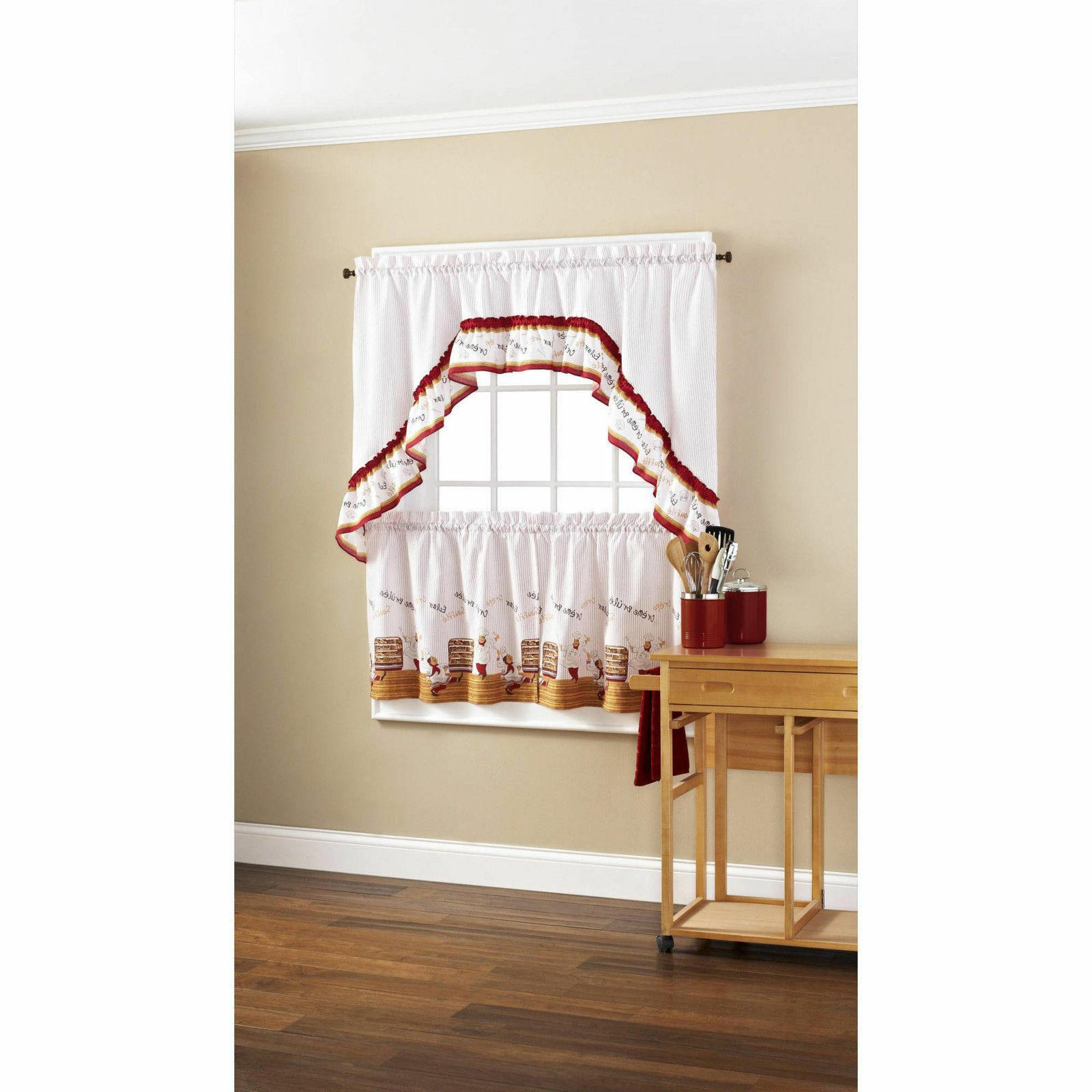 Mainstays Fat Chef Bistro Cafe Kitchen C For Chateau Wines Cottage Kitchen Curtain Tier And Valance Sets (View 13 of 20)