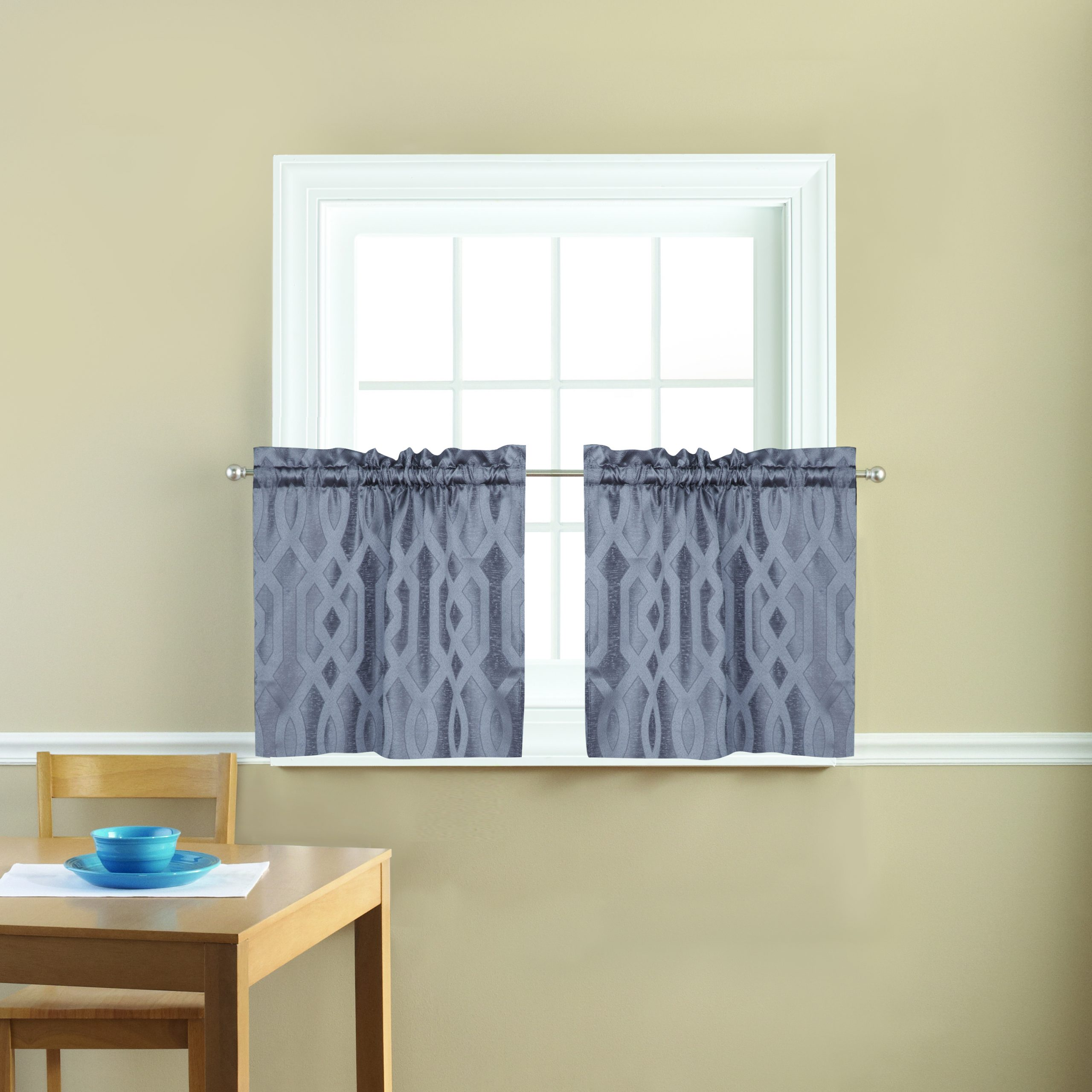 Mainstays Geometric Jacquard 3 Piece Kitchen Curtains Intended For Geometric Print Microfiber 3 Piece Kitchen Curtain Valance And Tiers Sets (View 17 of 20)