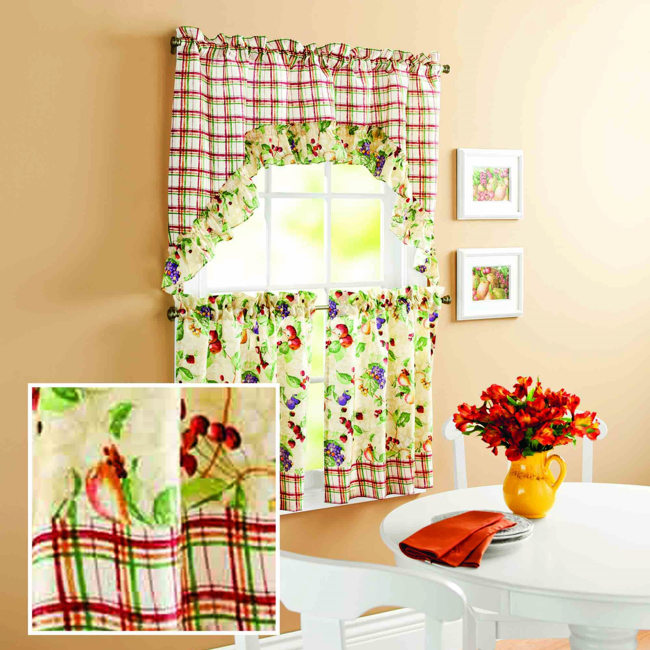 Mainstays Orchard Fruit Kitchen Curtain Set – Walmart Pertaining To Apple Orchard Printed Kitchen Tier Sets (View 6 of 20)