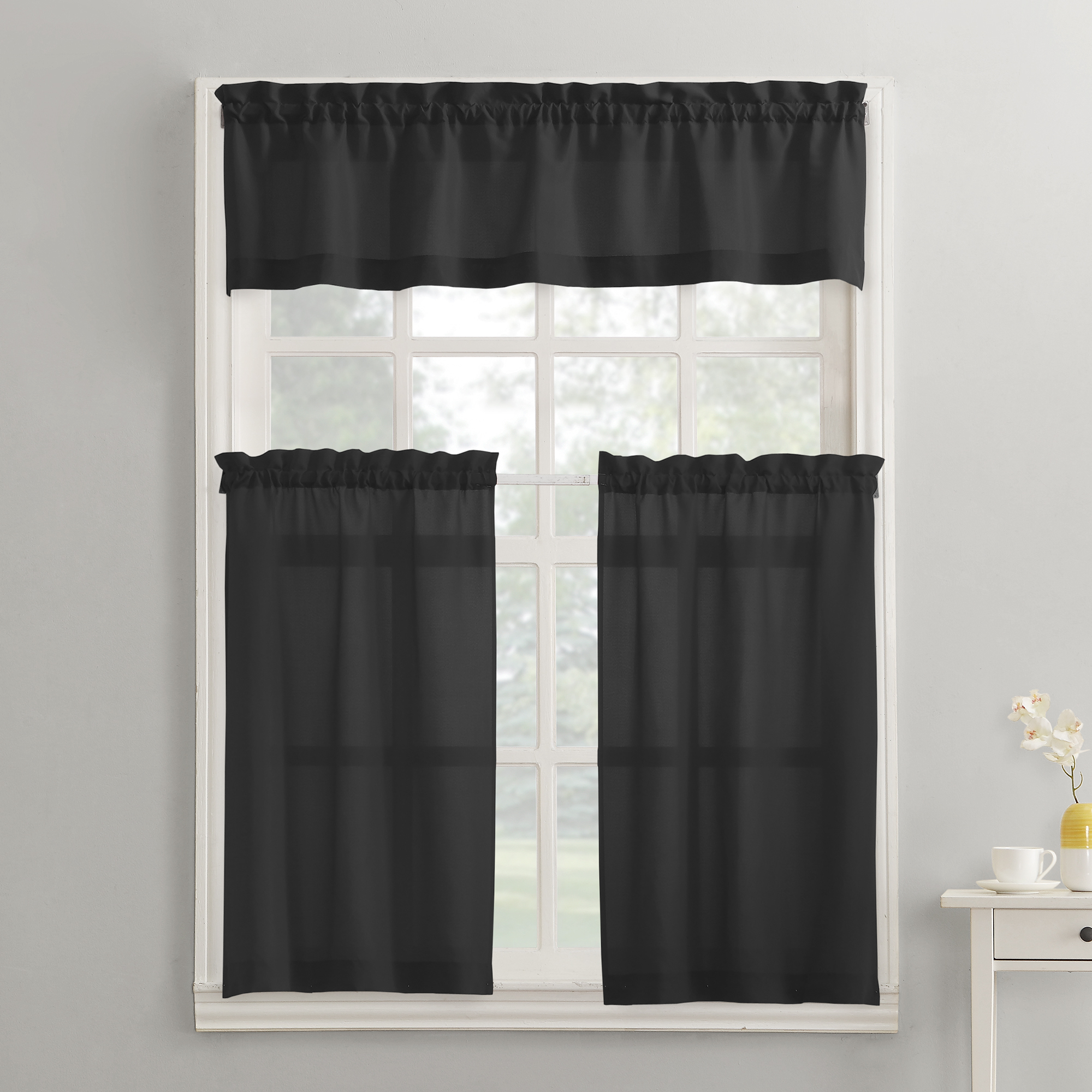 Mainstays Solid 3 Piece Kitchen Curtain Tier And Valance Set For Scroll Leaf 3 Piece Curtain Tier And Valance Sets (View 17 of 20)
