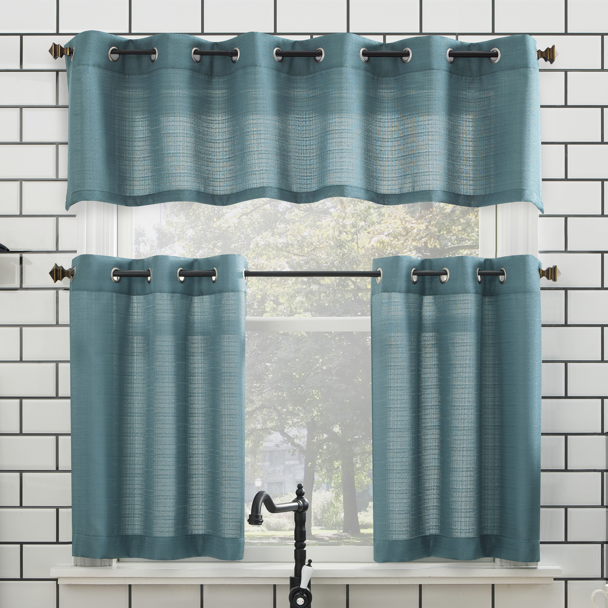 Mainstays Solid Grommet 3 Piece Kitchen Curtain Tier And Valance Set Pertaining To Geometric Print Microfiber 3 Piece Kitchen Curtain Valance And Tiers Sets (View 7 of 20)