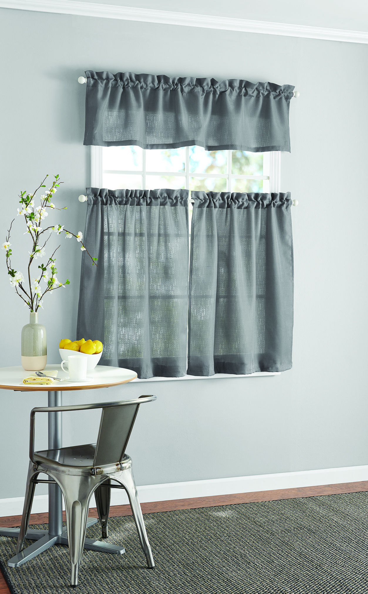 Mainstays Solid Kitchen Window Curtain Tier And Valance Set With Regard To Tree Branch Valance And Tiers Sets (View 13 of 20)