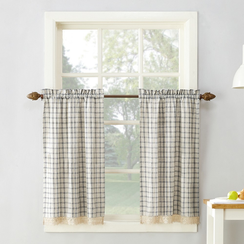 "Maisie Plaid Kitchen Curtain Swag Pair Gray 54""x38"" – No With Regard To Classic Navy Cotton Blend Buffalo Check Kitchen Curtain Sets (View 4 of 20)"