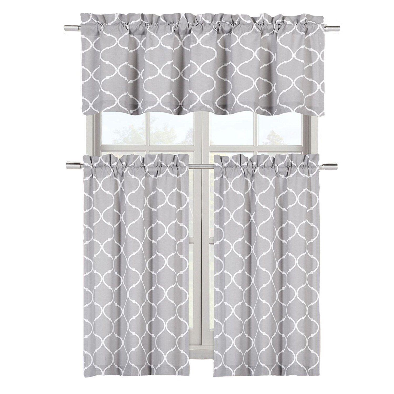 Maison Shabby Gray Trellis Cotton Blend Kitchen Curtain Tier In Cotton Blend Grey Kitchen Curtain Tiers (View 16 of 20)