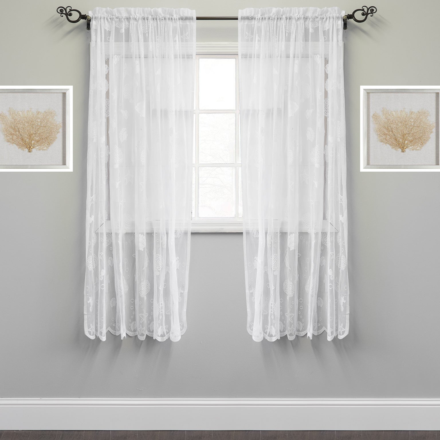 Marine Life Motif Knitted Lace Window Curtain Panel Throughout Ivory Knit Lace Bird Motif Window Curtain (View 10 of 20)