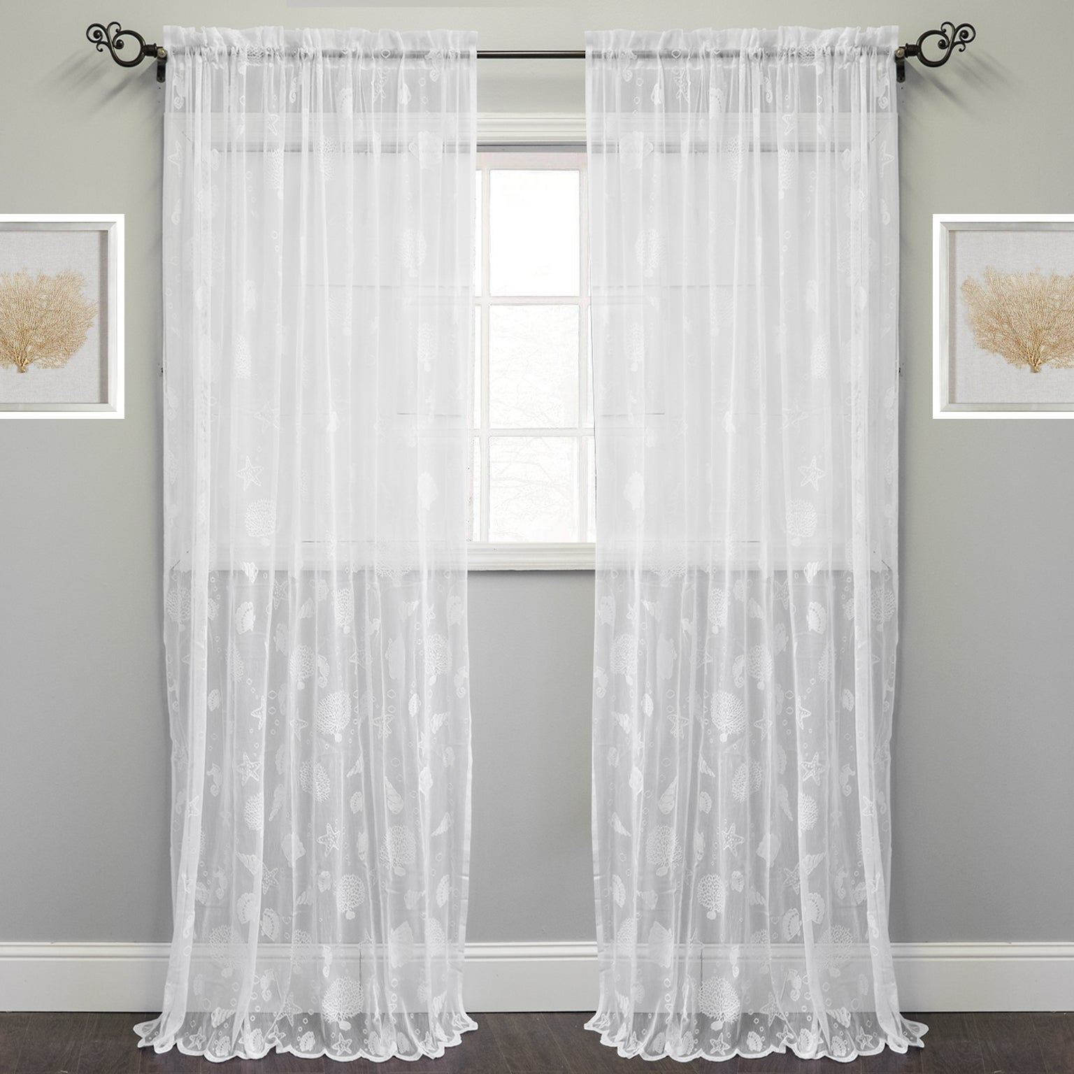 Marine Life Motif Knitted Lace Window Curtain Panel With Marine Life Motif Knitted Lace Window Curtain Pieces (View 3 of 20)