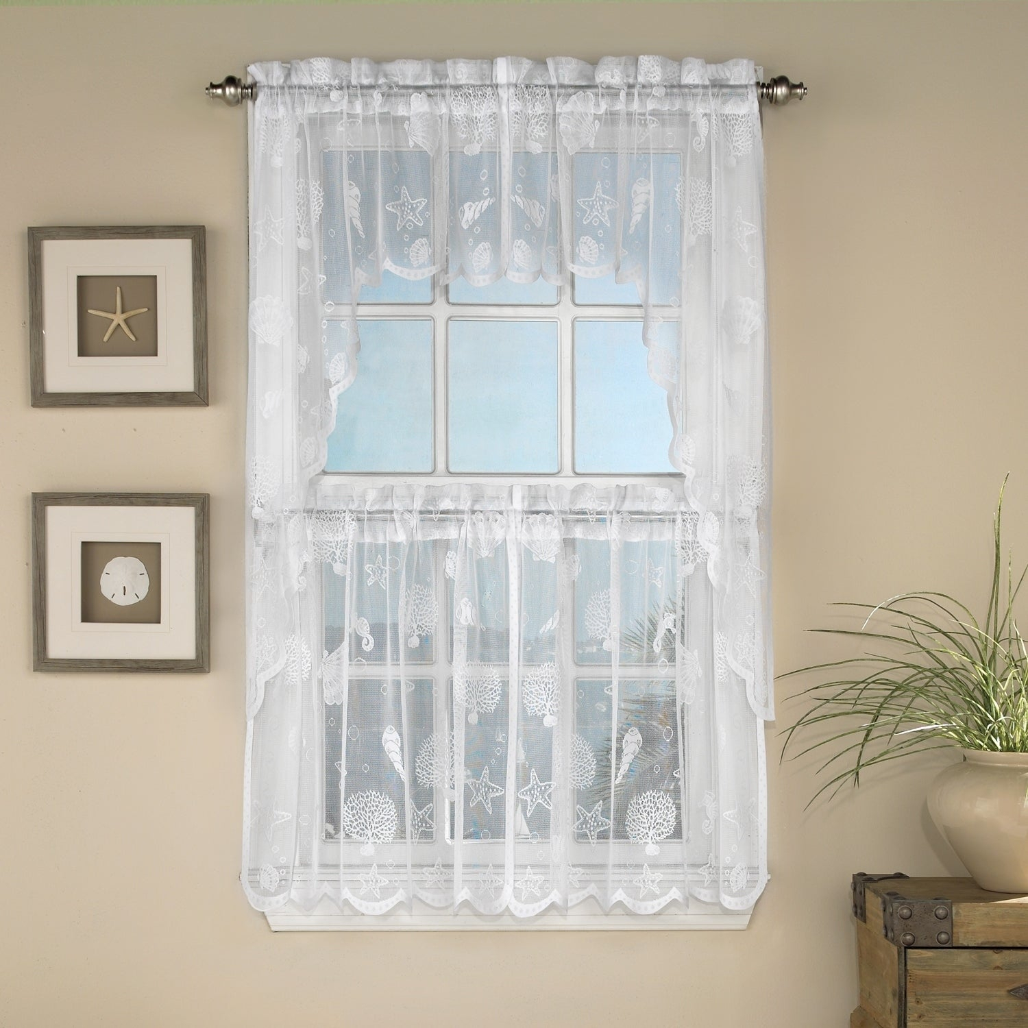 Marine Life Motif Knitted Lace Window Curtain Pieces Regarding Ivory Knit Lace Bird Motif Window Curtain (View 11 of 20)