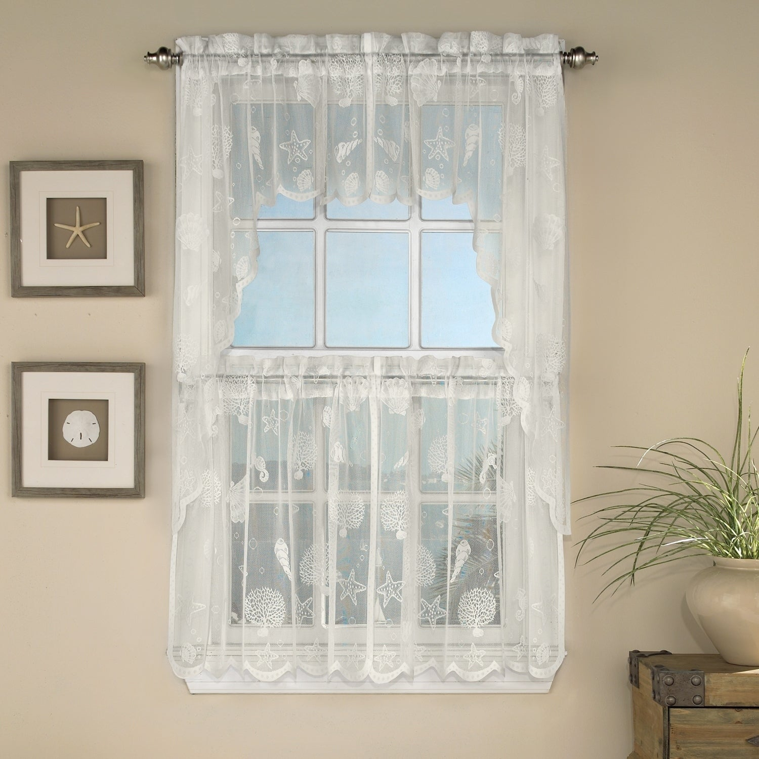 Marine Life Motif Knitted Lace Window Curtain Pieces Throughout White Tone On Tone Raised Microcheck Semisheer Window Curtain Pieces (View 16 of 20)