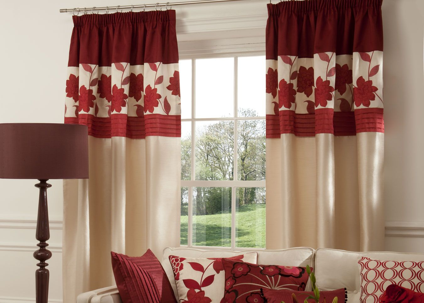 Maroon Curtains For Living Room | Red, White Curtains Within Kitchen Burgundy/white Curtain Sets (View 11 of 20)