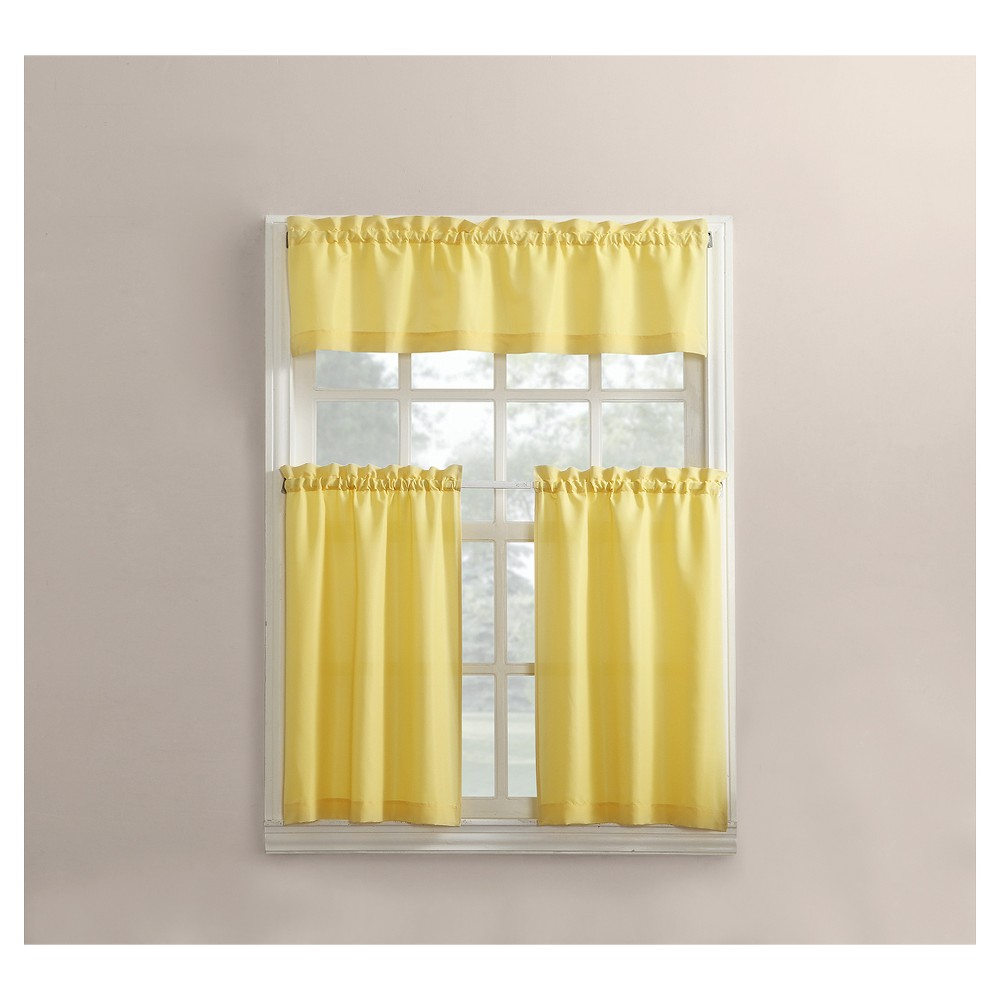 Martine Microfiber 3 Piece Kitchen Curtain Valance And Tiers For Microfiber 3 Piece Kitchen Curtain Valance And Tiers Sets (View 6 of 20)