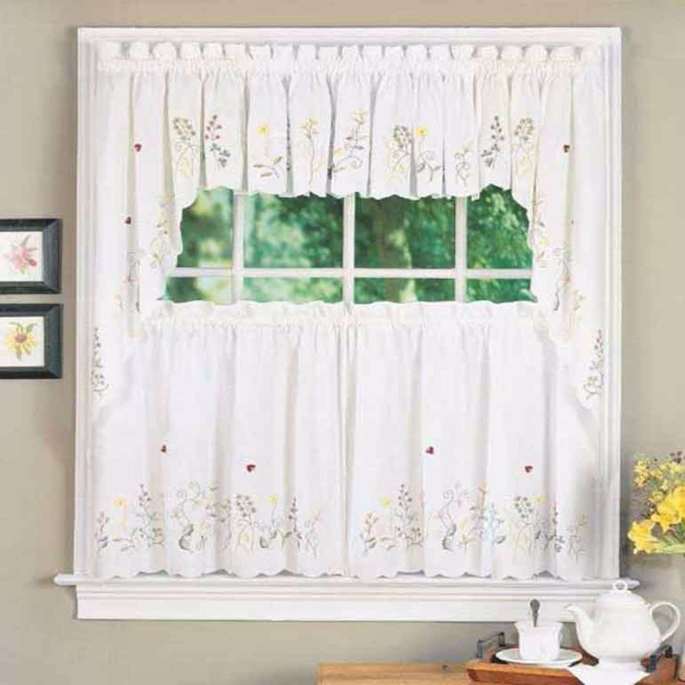 Meadow Embroidered Swag | Products | Tier Curtains, Curtains Pertaining To Embroidered Ladybugs Window Curtain Pieces (View 3 of 20)