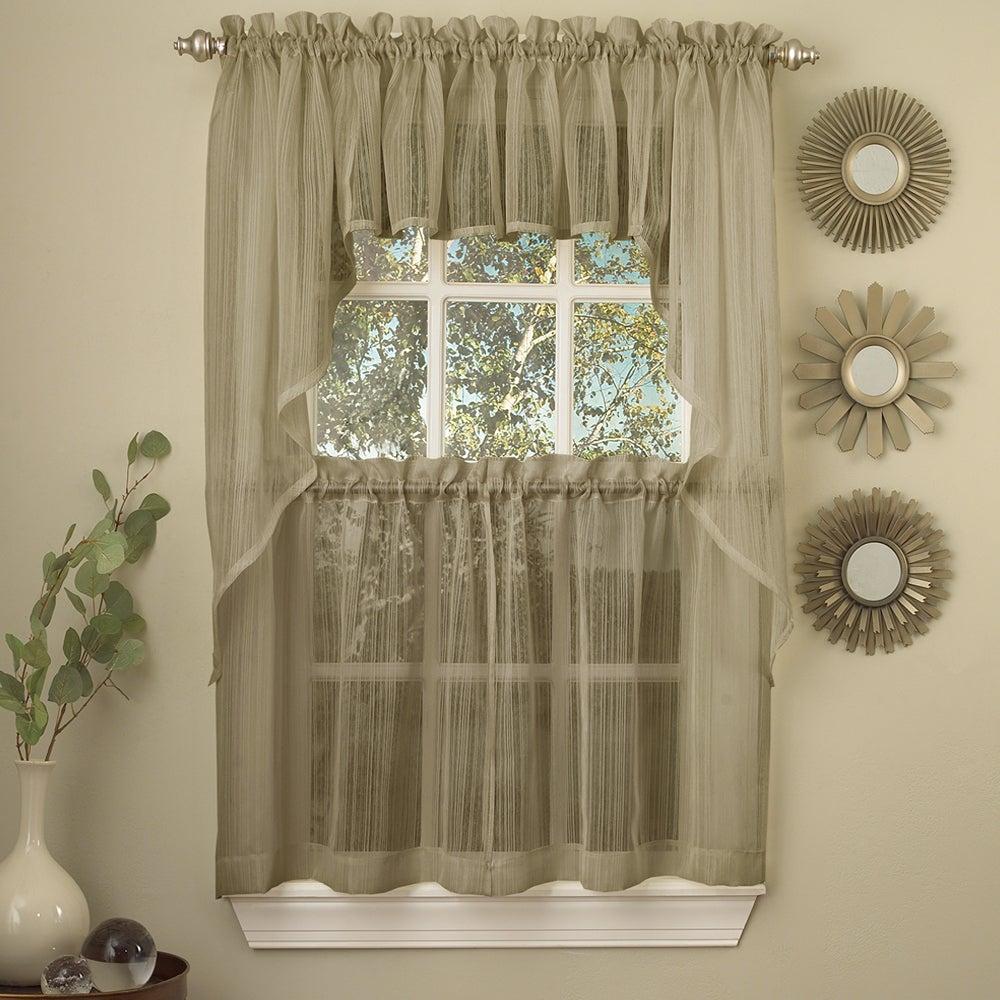 Mocha Micro Striped Semi Sheer Window Curtain Pieces For Micro Striped Semi Sheer Window Curtain Pieces (View 2 of 20)